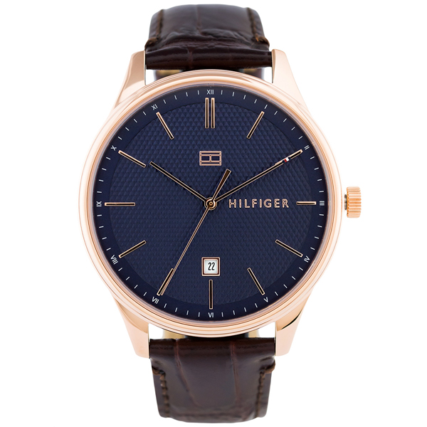 トミーヒルフィガー 腕時計 メンズ DAMON 44mm ローズゴールドケース ネイビー文字盤 ダークブラウン レザー 1791493 ビジネス 男性 ブランド 時計 誕生日 お祝い プレゼント ギフト お洒落