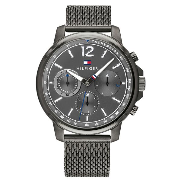 トミーヒルフィガー 腕時計 メンズ LANDON マルチファンクション グレー メッシュ ステンレス 1791530 ビジネス 男性 ブランド 時計 誕生日 お祝い プレゼント ギフト お洒落