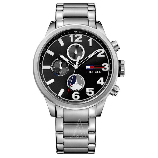 トミーヒルフィガー メンズ 腕時計 マルチカレンダー ブラック シルバー ステンレス 1791243 ビジネス 男性 ブランド 時計 誕生日 お祝い プレゼント ギフト お洒落