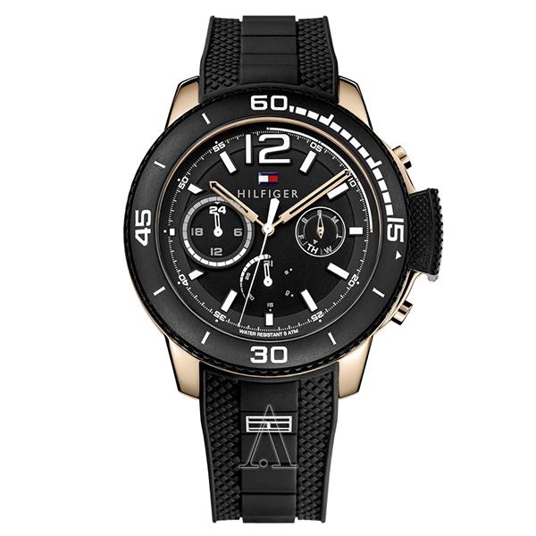 トミーヒルフィガー メンズ 腕時計 マルチカレンダー ブラック シリコン 1791319 ビジネス 男性 ブランド 時計 誕生日 お祝い プレゼント ギフト お洒落