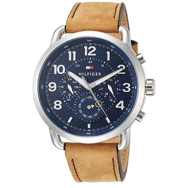 トミーヒルフィガー 腕時計 メンズ BRIGGS マルチファンクション 46mm シルバー ネイビー文字盤 ライトブラウン レザー 1791424 ビジネス 男性 ブランド 時計 誕生日 お祝い プレゼント ギフト お洒落