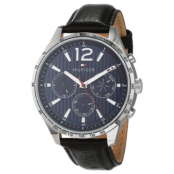 トミーヒルフィガー 腕時計 メンズ LUKE マルチファンクション 46mm ネイビー文字盤 ブラック レザー 1791468 ビジネス 男性 ブランド 時計 誕生日 お祝い プレゼント ギフト お洒落