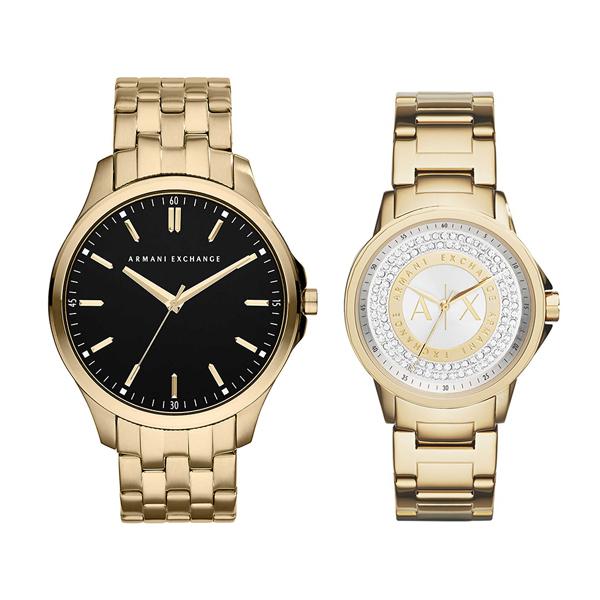 アルマーニエクスチェンジ 時計 メンズ レディース ペアウォッチ 腕時計 金 ゴールド ステンレス AX2145AX4321 ブランド カップル 男女 ペアセット 時計 誕生日 お祝い プレゼント ギフト お洒落