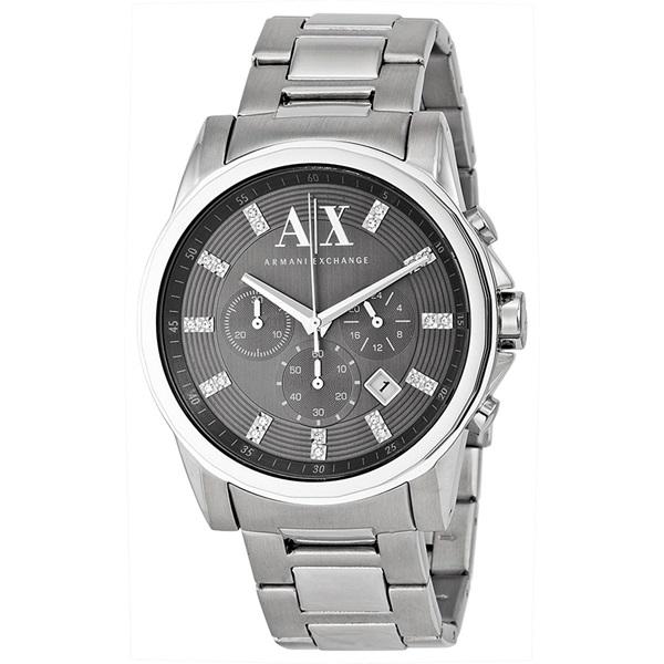 アルマーニエクスチェンジ 時計 メンズ 腕時計 クロノグラフ ダークグレー文字盤 シルバー ステンレス AX2092 ビジネス 男性 ブランド 時計 誕生日 お祝い プレゼント ギフト お洒落