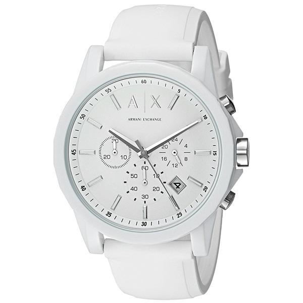アルマーニ・エクスチェンジ 時計 メンズ 腕時計 クロノグラフ ホワイト ラバー AX1325 ビジネス 男性 ブランド 時計 誕生日 お祝い プレゼント ギフト お洒落