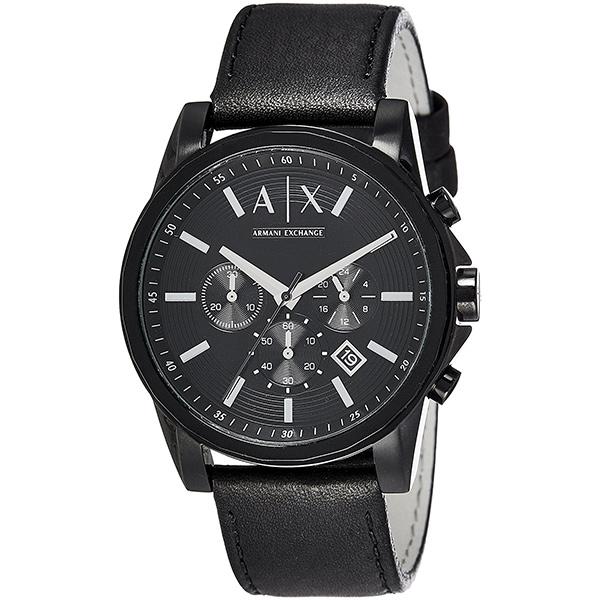 アルマーニ・エクスチェンジ 時計 メンズ 腕時計 クロノグラフ ブラック レザー AX2098 ビジネス 男性 ブランド 時計 誕生日 お祝い プレゼント ギフト お洒落