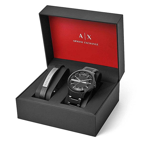 アルマーニ・エクスチェンジ 時計 メンズ 腕時計 ブラック ステンレス ブレスレットセット AX7101 ビジネス 男性 ブランド 時計 誕生日 お祝い プレゼント ギフト お洒落