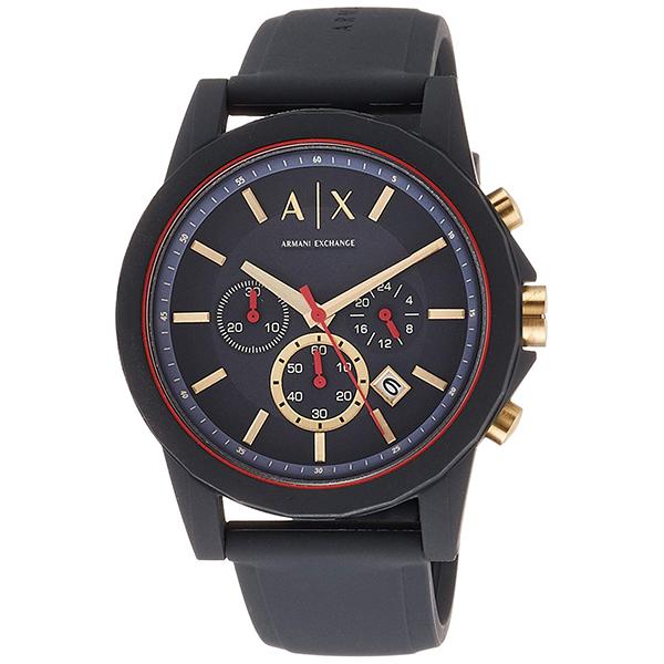 アルマーニ・エクスチェンジ 時計 メンズ 腕時計 OUTER BANKS クロノグラフ ダークブルー シリコンラバー AX1335 ビジネス 男性 ブランド 時計 誕生日 お祝い プレゼント ギフト お洒落