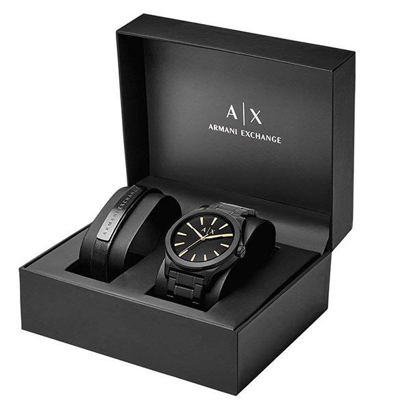 アクセサリーセット 専用ボックス付 アルマーニ・エクスチェンジ 時計 メンズ 腕時計 Active 44mm ブラック ステンレス ブレスレットセット AX7102 ビジネス 男性 ブランド 時計 誕生日 お祝い プレゼント ギフト