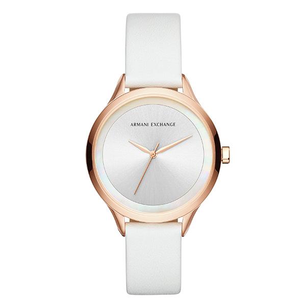 アルマーニエクスチェンジ 時計 レディース 腕時計 38mm ローズゴールドケース ホワイト レザー シンプルデザイン AX5604 ビジネス 女性 ブランド 時計 誕生日 お祝い プレゼント ギフト