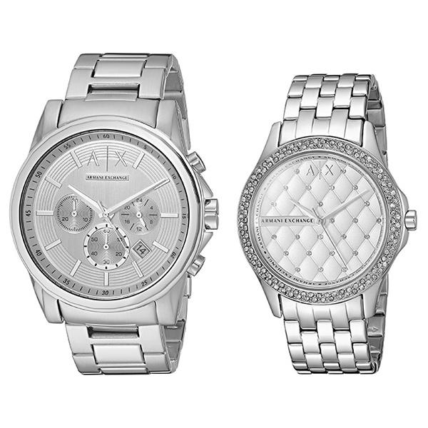 620df58f3a アルマーニエクスチェンジ時計メンズレディースペアウォッチ腕時計44mm36mmシルバーステンレスAX2058AX5215 ...