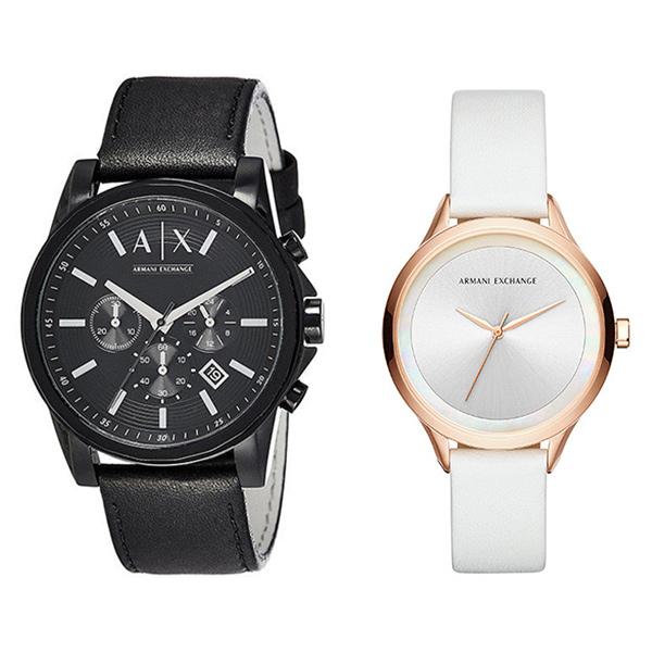【キャッシュレス5%還元】アルマーニエクスチェンジ 時計 メンズ レディース ペアウォッチ 腕時計 44mm 38mm ブラック ホワイト レザー AX2098AX5604 ブランド カップル 男女 ペアセット 時計 誕生日 お祝い プレゼント ギフト