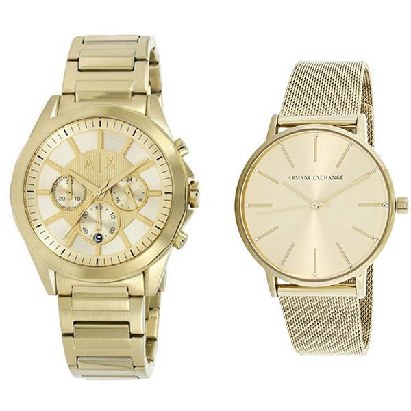 アルマーニエクスチェンジ 時計 メンズ レディース ペアウォッチ 腕時計 45mm 36mm ゴールド 黄金 ステンレス AX2602AX5536 ブランド カップル 男女 ペアセット 時計 誕生日 お祝い プレゼント ギフト お洒落