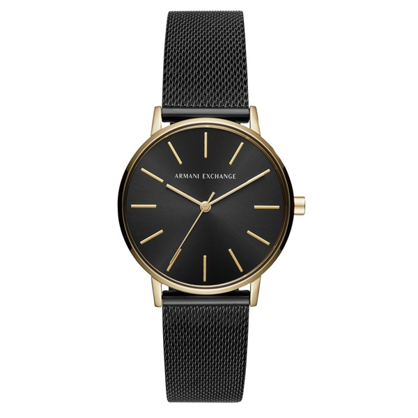 アルマーニ・エクスチェンジ 時計 レディース 腕時計 LOLA ローラ 36mm ゴールドケース ブラック メッシュ ステンレス AX5548 ビジネス 女性 ブランド 時計 誕生日 お祝い プレゼント ギフト