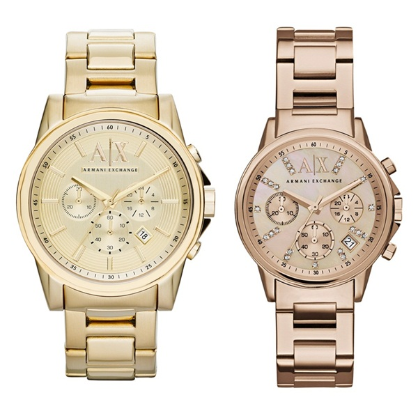 アルマーニエクスチェンジ 時計 メンズ レディース ペアウォッチ 腕時計 クロノグラフ ゴールド ローズゴールド ステンレス AX2099AX4326 ブランド カップル 男女 ペアセット 時計 誕生日 お祝い プレゼント ギフト
