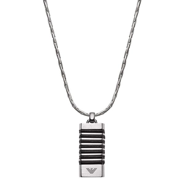 エンポリオアルマーニ ジュエリー ファッション アクセサリー NECKLACE ネックレス ペンダント プレート シルバー ブラック ステンレス EGS2535040 男性 女性 ブランド 小物 誕生日 お祝い プレゼント ギフト