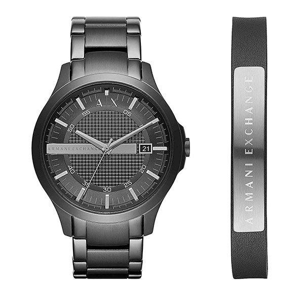 【時計収納BOX付き】アルマーニ・エクスチェンジ 時計 メンズ 腕時計 ブラック ステンレス ブレスレットセット AX7101BOX ビジネス 男性 ブランド 時計 誕生日 お祝い プレゼント ギフト お洒落
