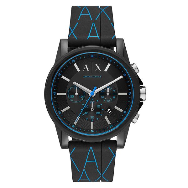 アルマーニ・エクスチェンジ 時計 メンズ 腕時計 OUTER BANKS クロノグラフ ブルー×ブラック シリコンラバー AX1342 ビジネス 男性 ブランド 時計 誕生日 お祝い プレゼント ギフト