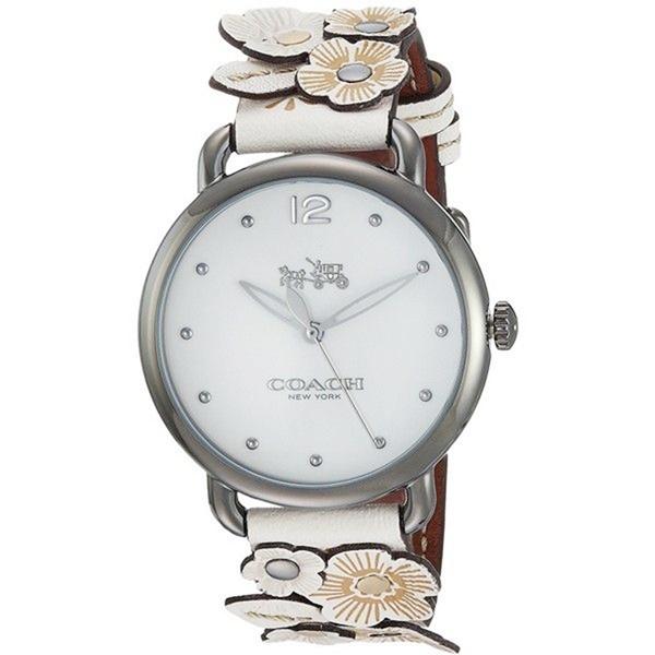 コーチ 時計 レディース 腕時計 デランシーフラワー 花 36mm ホワイトレザー 革ベルト 14502746 ビジネス 女性 ブランド 【仕事用】 誕生日 お祝い プレゼント ギフト お洒落