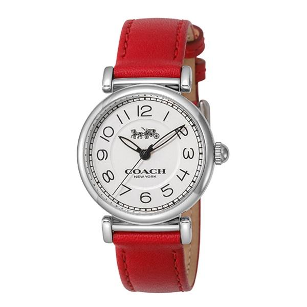 【キャッシュレス5%還元】コーチ 時計 レディース 腕時計 マディソン かわいい レッドレザー 革ベルト 14502861 ビジネス 女性 ブランド 誕生日 お祝い プレゼント ギフト