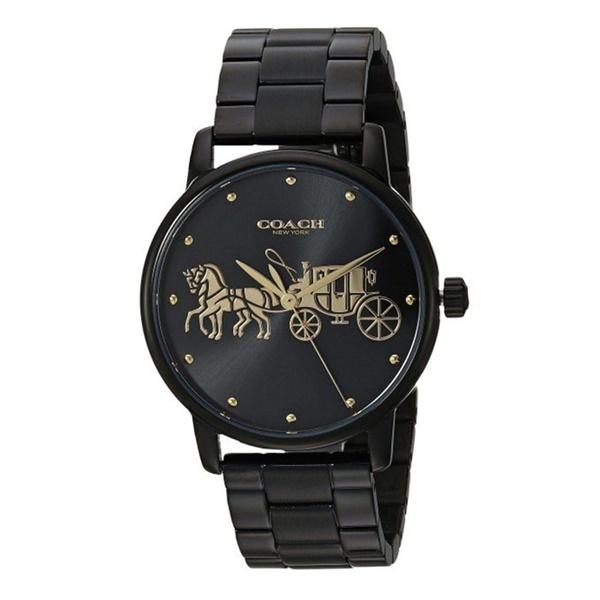 ffd14103dfcf コーチ時計レディース腕時計グランドブラックイエローゴールド黒金馬車ロゴブレスウォッチ14502925 メンズorレディースで選ぶ 限定セール