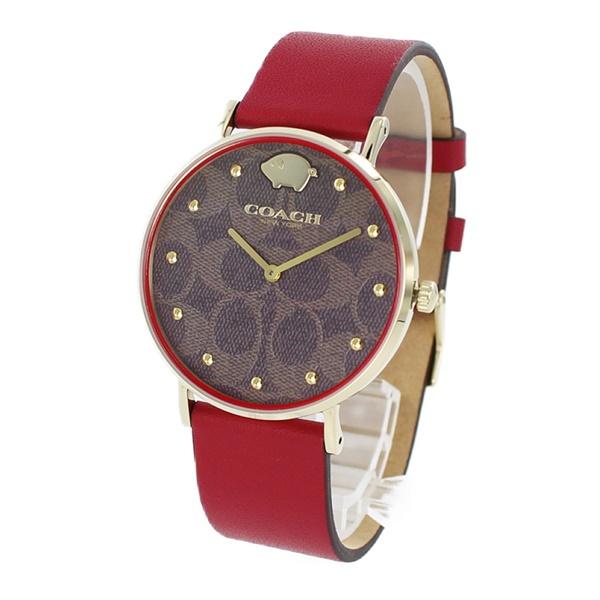 コーチ 時計 レディース 腕時計 PERRY ペリー ゴールド シグネチャー レッドレザー 赤 革 かわいい 金 ブタ 14503191 ビジネス 女性 ブランド 誕生日 お祝い プレゼント ギフト