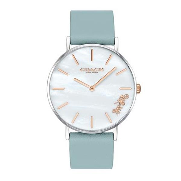 コーチ 時計 レディース 腕時計 PERRY ペリー かわいい ライトブルー 水色 シェル文字盤 レザー 革 とけい 女性 誕生日 お祝い 14503271 ビジネス 女性 ブランド 誕生日 お祝い プレゼント ギフト