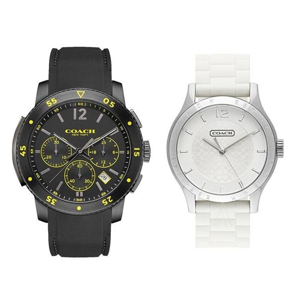 4c65331e5c15 コーチ 腕時計 ペアウォッチ 2本セット ブリーカー スポーツ マディ 黒 白 ブラック ホワイト ラバー/