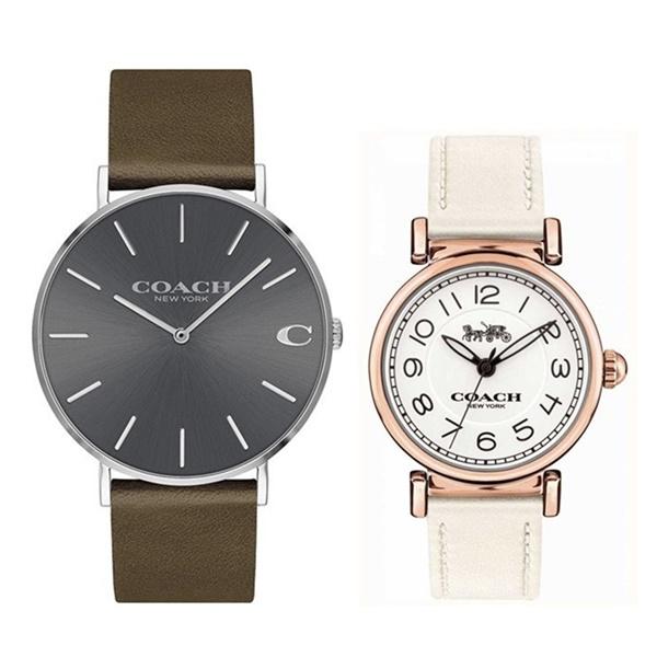 【時計アクセ収納ケース付!】コーチ 腕時計 ペアウォッチ レザー 革 シンプル 可愛い オリーブブラウン ホワイト 彼氏 彼女
