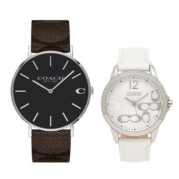 【ペア収納BOX付き】コーチ 腕時計 ペアウォッチ チャールズ シグネチャー レザー 革 シンプル おしゃれ 黒 白 ブラック ホワイト 1460215614501616 ブランド カップル 男女 ペアセット 誕生日 お祝い プレゼント ギフト
