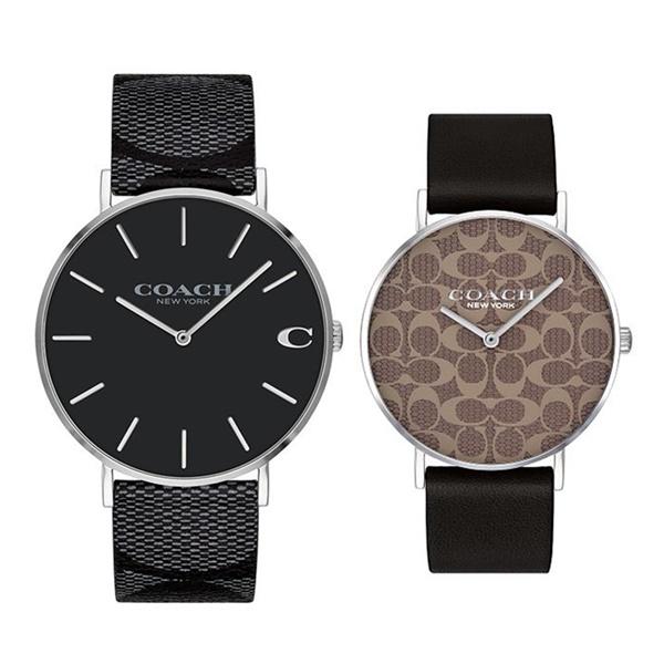 【ペア収納BOX付き!】コーチ ペアウォッチ 腕時計 2本セット 大人 レザー 革 ブラック ブラウン シグネチャー柄 1460
