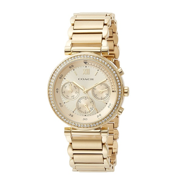 コーチ 時計 レディース 腕時計 スポーツ マルチファンクション 36mm ゴールド ステンレス クリスタル 14502037 ビジネス 女性 ブランド 誕生日 お祝い プレゼント ギフト