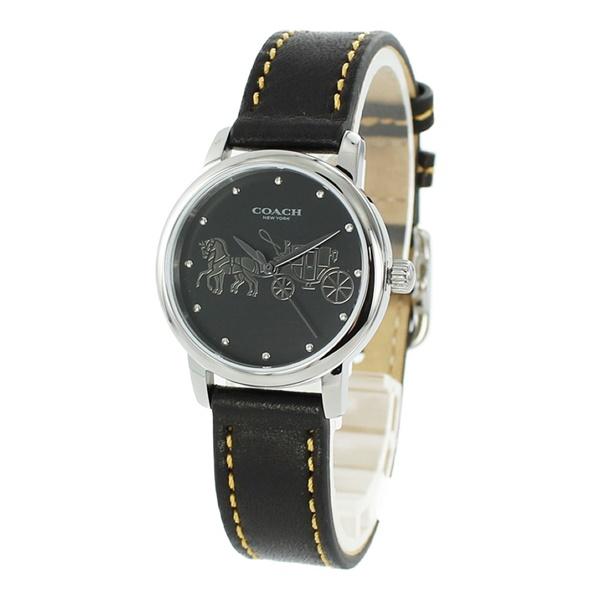 【キャッシュレス5%還元】コーチ 時計 レディース 腕時計 GRAND グランド シルバーケース ブラック レザー 14502979 ビジネス 女性 ブランド 誕生日 お祝い プレゼント ギフト