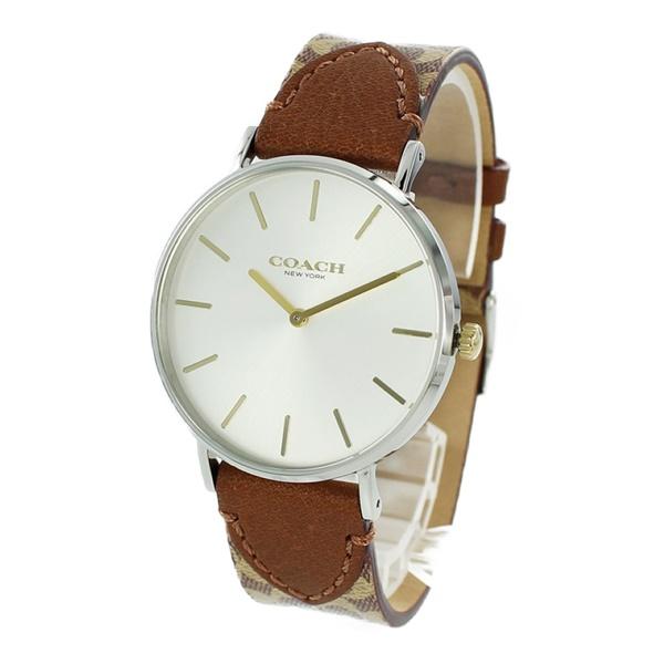 【キャッシュレス5%還元】コーチ 時計 レディース 腕時計 PERRY ペリー シルバーケース ブラウン シグネチャー レザー 14503121 ビジネス 女性 ブランド 誕生日 お祝い プレゼント ギフト