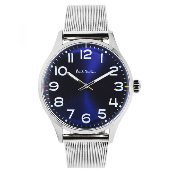 【キャッシュレス5%還元】ポールスミス 腕時計 メンズ 爽やかブルー文字盤 青 おしゃれなメッシュベルト シンプル ビジネス スーツ ギフト P10121 ビジネス 男性 ブランド 時計 誕生日 お祝い プレゼント ギフト