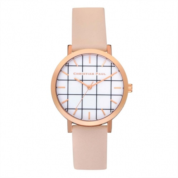 クリスチャンポール 時計 レディース 腕時計 35mm ホワイトグリッド ベビーピンクレザー 天然皮革 GRL-02 ビジネス 女性 ブランド 時計 誕生日 お祝い プレゼント ギフト お洒落