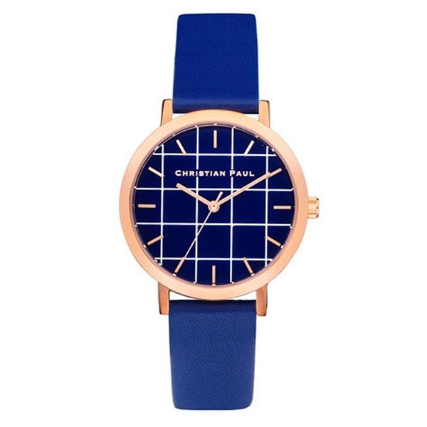 【キャッシュレス5%還元】クリスチャンポール 時計 レディース 腕時計 35mm ブルーグリッド ブルーレザー 天然皮革 GRL-04 ビジネス 女性 ブランド 時計 誕生日 お祝い プレゼント ギフト