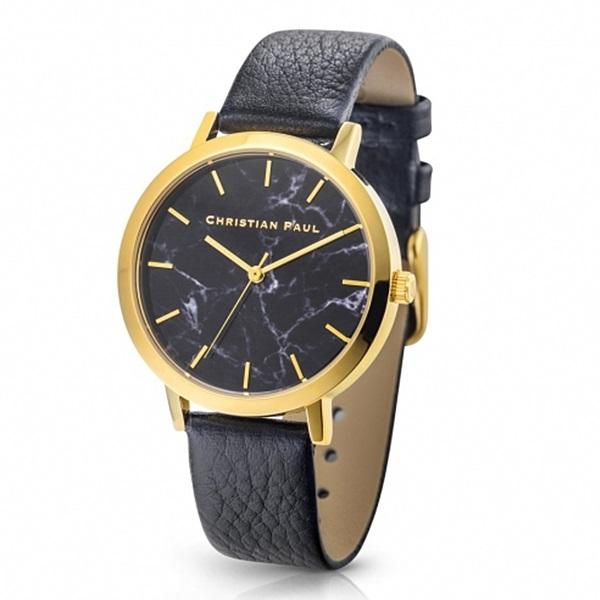 クリスチャンポール 時計 レディース 腕時計 35mm ブラックマーブル 大理石柄 ブラックレザー 天然皮革 MRL-04 ビジネス 女性 ブランド 時計 誕生日 お祝い プレゼント ギフト お洒落