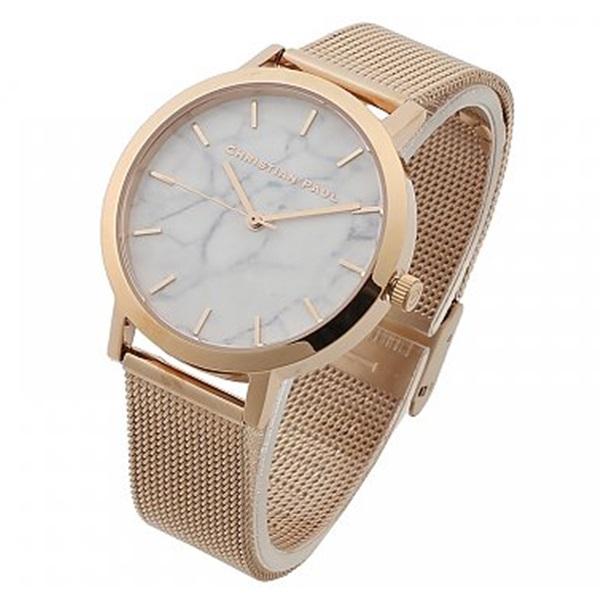クリスチャンポール 時計 レディース 腕時計 35mm ホワイトマーブル 大理石柄 ローズゴールド ステンレス MRML-02 ビジネス 女性 ブランド 時計 誕生日 お祝い プレゼント ギフト