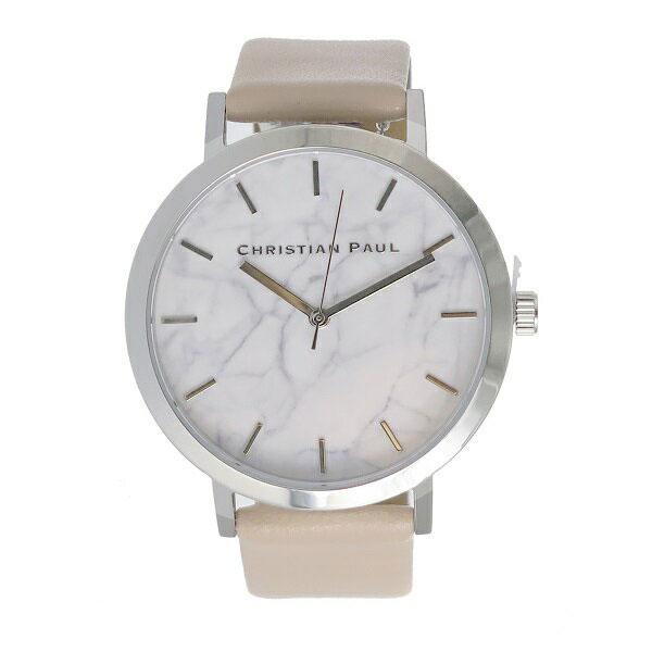 クリスチャンポール 時計 メンズ レディース ユニセックス 腕時計 43mm ホワイトマーブル 大理石柄 シルバーケース ベビーピンク レザー MAR-02(MWS4306) ビジネス カップル 男女 時計 誕生日 お祝い プレゼント ギフト お洒落
