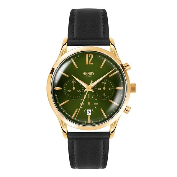 ヘンリーロンドン 時計 メンズ 腕時計 チズウィック クロノグラフ 41mm グリーン 黒 レザー HL41-CS-0106 ビジネス 男性 ブランド 時計 誕生日 お祝い プレゼント ギフト お洒落