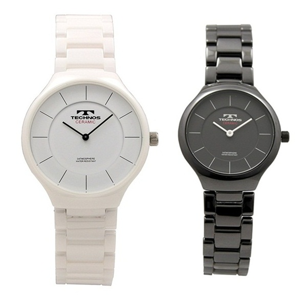 テクノス ペアウォッチ 腕時計 メンズ レディース 白 黒 ホワイト ブラック セラミック T6595TWT6879TB ビジネス 男女 ペアセット 誕生日 お祝い プレゼント ギフト お洒落
