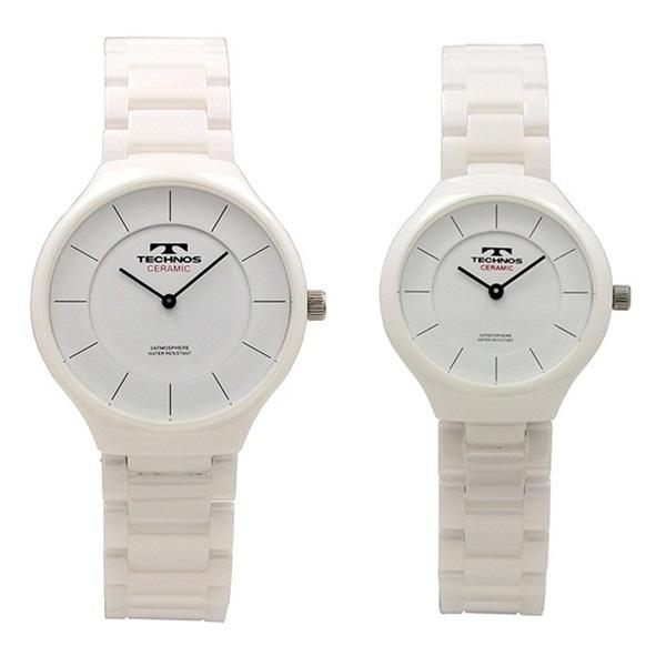 テクノス ペアウォッチ 腕時計 メンズ レディース 白 ホワイト セラミック T6595TWT6879TW ビジネス 男女 ペアセット 誕生日 お祝い プレゼント ギフト お洒落