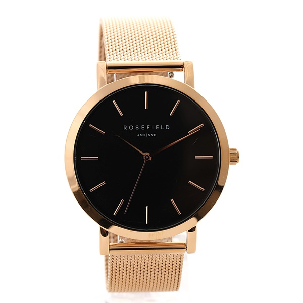 ローズフィールド 時計 メンズ レディース 腕時計 38ミリ ローズゴールド ステンレス ブラック文字盤 MBR-M45 ブランド カップル ユニセックス 男女 誕生日 お祝い プレゼント ギフト