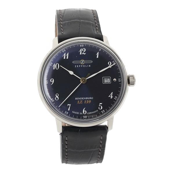 ツェッペリン 時計 メンズ 腕時計 ヒンデンブルク シルバーケース ネイビー レザー 7046-3 ビジネス 男性 ブランド 誕生日 お祝い プレゼント ギフト