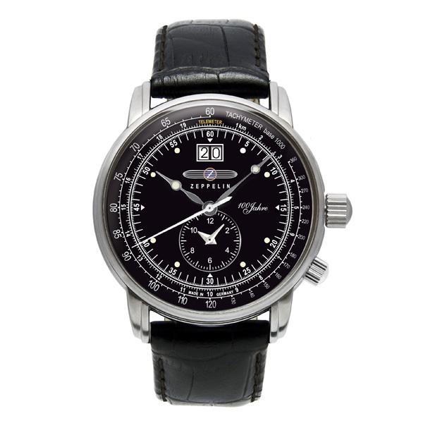 ツェッペリン 時計 メンズ 腕時計 100周年記念モデル ブラック クロコ レザー シルバー ケース 7640-2 ビジネス 男性 ブランド 【仕事用】 誕生日 お祝い プレゼント ギフト お洒落