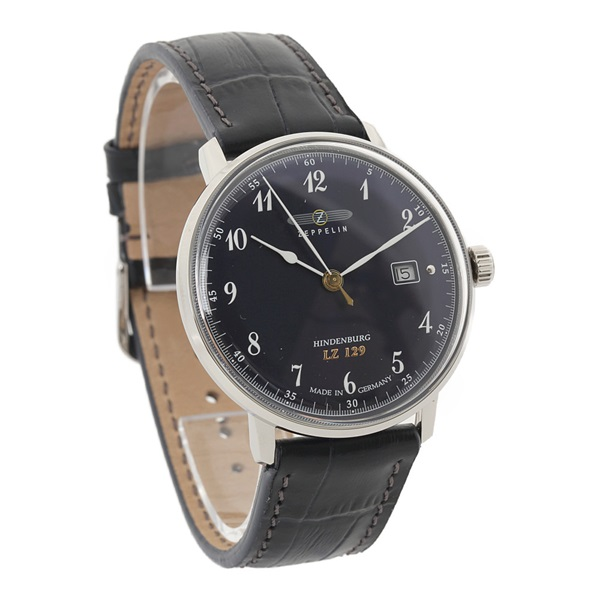 ツェッペリン 時計 メンズ 腕時計 ヒンデンブルク シルバーケース ネイビー レザー 7046-3 ビジネス 男性 ブランド 【仕事用】 誕生日 お祝い プレゼント ギフト お洒落