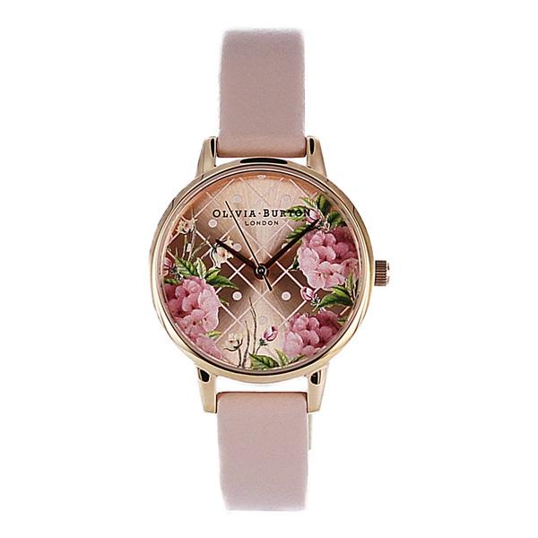 女性・彼女への贈り物に オリビアバートン 時計 レディース 30mm 花柄 フラワー ローズゴールド ピンク レザー OB15EG43 ビジネス 女性 ブランド 時計 誕生日 お祝い プレゼント ギフト お洒落