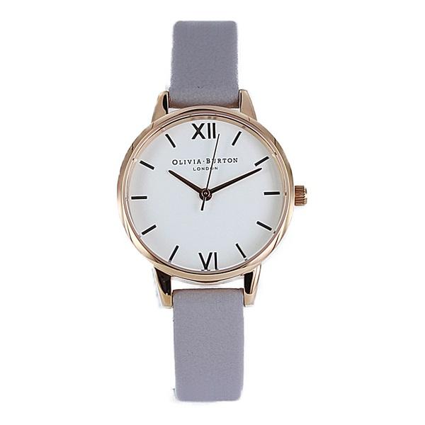 オリビアバートン 時計 レディース 腕時計 ミディダイヤル ホワイト ローズゴールド グレイライラック レザー OB16MDW15 ビジネス 女性 ブランド 時計 誕生日 お祝い プレゼント ギフト お洒落