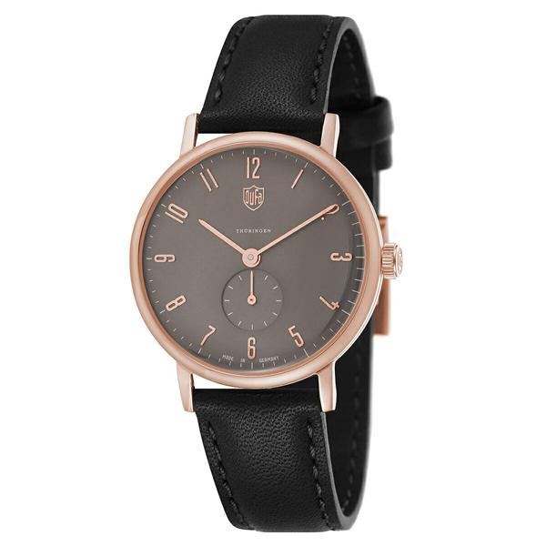 ドゥッファ ドイツ時計 メンズ 腕時計 GROPIUS スモールセコンド 38mm ローズゴールドケース グレー ブラック レザー DF-9001-0N ビジネス 男性 ブランド 時計 誕生日 お祝い プレゼント ギフト お洒落